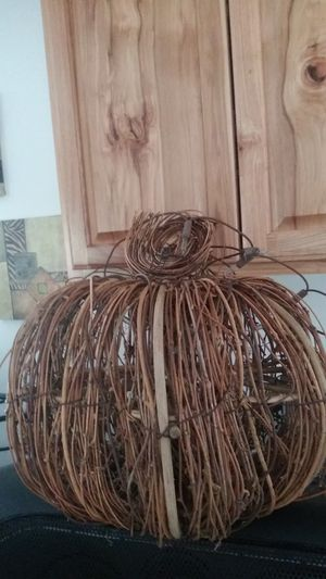 Hand made wicker pumpkin with lights for Sale in Greenacres, WA
