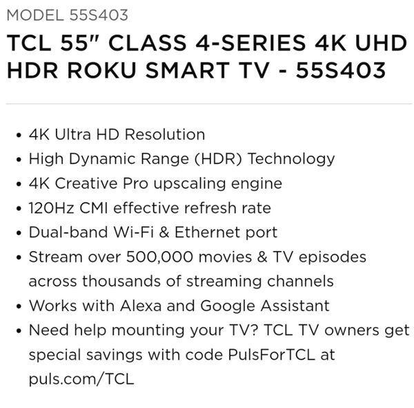 """Almost NEW Superb TCL Roku 55"""" 55S403 Smart TV with remote"""