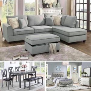 $3,499 3 ROOMS PACKAGE TODAY'S SPECIAL INCLUDED 4 PIECES QUEEN SIZE BEDROOM SET WITH MATTRESS, GRAY SECTIONAL WITH OTTOMAN INCLUDED & 6 PIECES DINI for Sale in Chino, CA