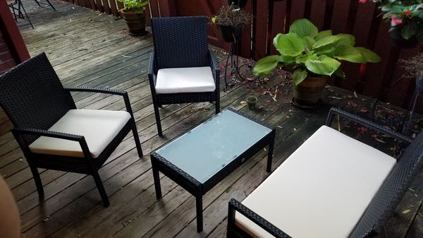 Patio Conversation Set, 4 -Piece (2 Chairs, Loveseat and Coffee Table)