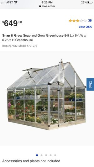 Snap & Grow Snap and Grow Greenhouse 8-ft L x 6-ft W x 6.75-ft H Greenhouse for Sale in Lynwood, CA