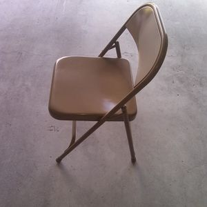 Chair Folding Metal Beige for Sale in Chevy Chase, MD
