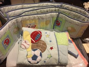 One baby boy quilt one pad goes around cribs for Sale in North Las Vegas, NV