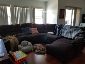 Reclining sectional with entertainment center and 2 bookshelves for Sale in Chula Vista, CA