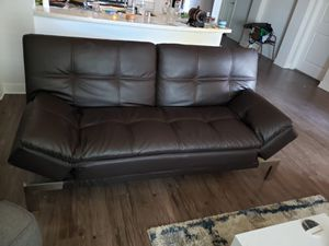 Brown leather comfy futon for Sale in San Diego, CA
