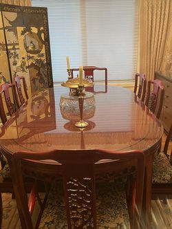 Chinese Rosewood Table With 6 Side chairs And 2 Armchairs for Sale in Bothell,  WA