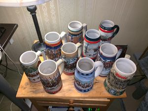 Holiday Budweiser beer antique vintage cups glasses for Sale in Worcester, MA