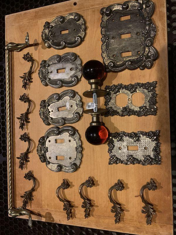 Vintage brass light switch plates and dresser drawer pulls