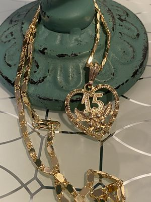 "15 Anos Heart Pendant With Chain Necklace 22"" 3mm for Sale in Nashville, TN"