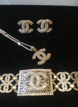 Channel cc diamond earrings necklace bracelet for Sale in Clermont, FL