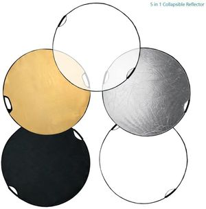 """(BRAND NEW) $20 - 43"""" Hand Held Photography Photo Video Studio Lighting Disc Reflector, 5-in-1, 5 Colors, Black, White, Gold, Silver, Translucent for Sale in Pomona, CA"""