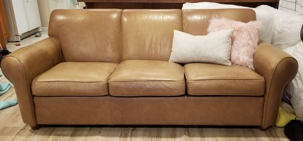 Ethan allen leather sofa and 2 club chairs