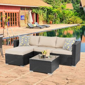 Patio Table & Pool Chairs Wicker Furniture Outdoor Rattan Sofa Garden Conversation Backyard Set (Khaki) for Sale in Beverly Hills, CA