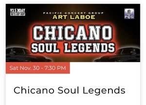 Chicano Soul Legends tickets at the Honda Center for Sale in Fullerton, CA