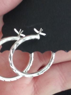 🌵STERLING SILVER 925 DIAMOND CUT HOOP EARRINGS for Sale in Zionsville, IN