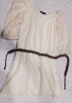 Heart Soul White Lace 3/4 Sleeve Dress Size XS w Belt for Sale in Southlake, TX