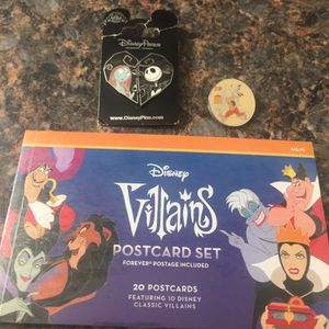 Disney Villains postcard set FOREVER Stamps included and collectible trading pins for Sale in Redondo Beach, CA