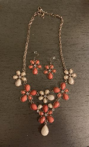 Orange flower necklace earring set for Sale in Chico, CA