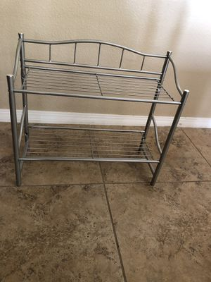 Two shelf and towel bar metal rack for Sale in Las Vegas, NV