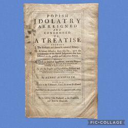 EXTREMELY RARE~1653 1st Posthumous Ed. Folio Popish Idolatry by Henry Ainsworth for Sale in El Dorado Hills,  CA