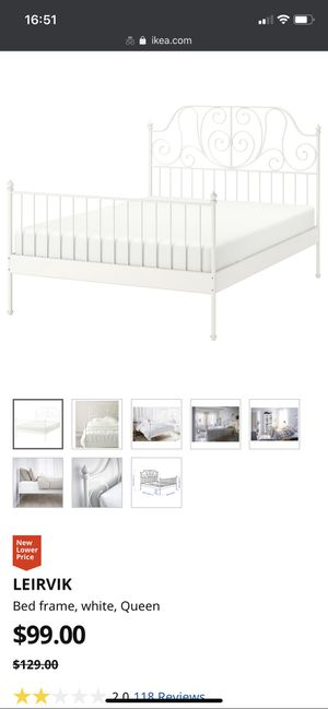 IKEA QUEEN SIZE BED WHITE FRAME for Sale in Irvine, CA