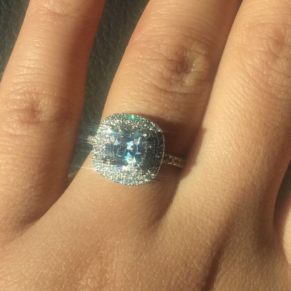 Diamoneque silver filled white sapphires ring wedding engagement casual size 6