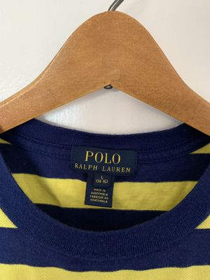 Men's Ralph Lauren Polo shirt. Size: L, Color: Navy Blue & Yellow, Design: Short Sleeve for Sale in Silver Spring, MD