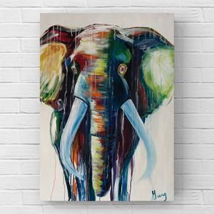 Abstract colorful elephant acrylic painting for Sale in Kirkland, WA