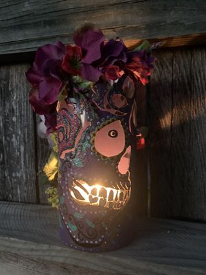 Hand painted medium glass candle holder for Sale in San Antonio, TX