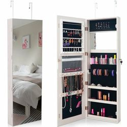 Lockable Storage Jewelry Cabinet With Frameless Mirror-White HW60386WH for Sale in South El Monte,  CA