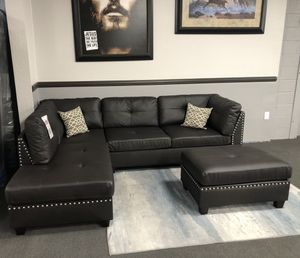 Espresso Leather Sectional for Sale in Fresno, CA