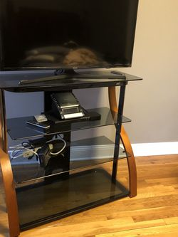 Glass And Wood TV Stand for Sale in The Bronx,  NY