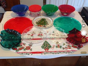 11 Christmas serving bowls, trays (1 is metal), platters, storage container. All 11 pieces, bundled , for $7 for Sale in Centreville, VA