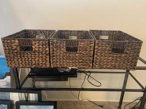 Set of three Wicker Baskets storage decorative for Sale in Torrance, CA