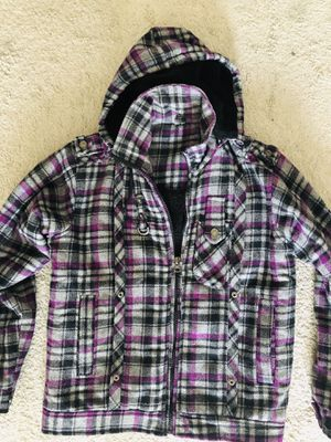 Winter jacket with warm wool inside and woolen hoodie and 2 side pockets and small mobile pocket for Sale in Pittsburgh, PA