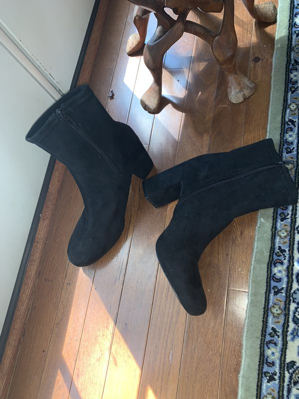 Black Suede Booties Size 7.5