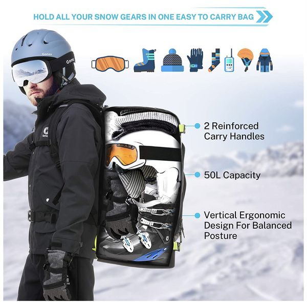 Gonex 50L Ski Boot Bag Backpack, Waterproof Snowboard Boot Backpack for Men Women, Ski Boots Bag for Travel, Ski, Snowboard, Helmet, Goggles and Oute