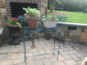 Metal antiqued plant stand plants not included for Sale in Greensboro, NC