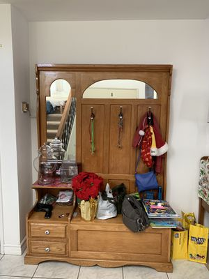 Antique coat hanger armoire with bench compartment for Sale in Los Angeles, CA