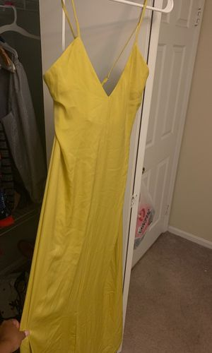 FashionNova green/yellow satin long dress - large for Sale in Washington, DC
