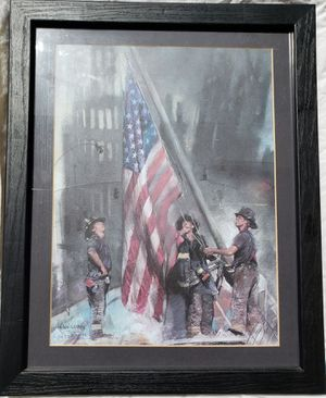 Haiyan art of 9-11 memorial of Firefighters rising the American Flag for Sale in NEW PRT RCHY, FL