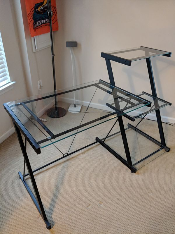 Glass Computer desk with bookcase