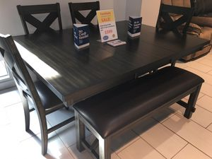 BEAUTIFUL KELLY DINING TABLE WITH 4 CHAIRS AND BENCH. SUPER SUMMER SALE EVENT SALE BLOWOUT!!! SAME DAY DELIVERY! NO CREDIT CHECK FINANCING WITH ONLY for Sale in St. Petersburg, FL