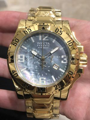 $1295 - Invicta Men's Deep Ocean Reserve 18k Yellow Gold Pearl Dial Chronograph Watch Swiss Made Authentic for Sale in Queens, NY