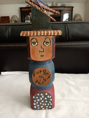 """""""Forget me Not""""Maggie Blue folk art hand carved painted wooden to do list reminder for Sale in Boynton Beach, FL"""