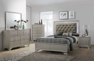 """🌟🌟BIG FURNITURE SALE 4Pcs Lyssa LED Bedroom set """"Queen bed +Nightstand +Dresser +Mirror """"Mattress &Chest not included """" for Sale in Los Angeles, CA"""