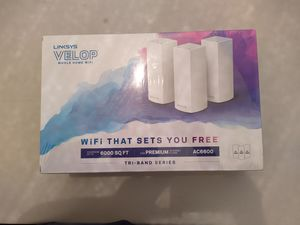 Linksys Velop Mesh Router (Tri-Band Home Mesh WiFi System for Whole-Home WiFi Mesh Network) 3-Pack for Sale in La Habra Heights, CA