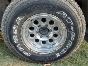 Set rims with tires for 2006 to 2012 6 lugs chevy colorado or nissan frontier or Toyota 6 lugs for Sale in Riverdale, CA