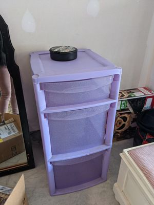 Purple sparkly plastic storage container organizer for Sale in Millersville, MD