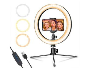 """LED Ring Light 10"""" with Tripod Stand & Phone Holder for Live Streaming & YouTube Video, Dimmable Desk Makeup Ring Light for Photography for Sale in Rancho Cucamonga, CA"""